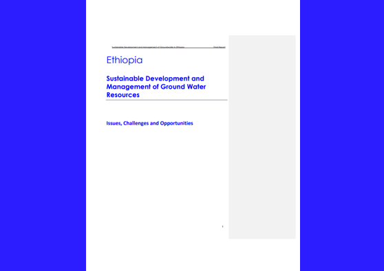 Frontpage manual: Country groundwater policy case study: Ethiopia